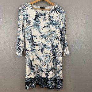 J. Jill Blue Tropical Palm Leaves Tunic Top